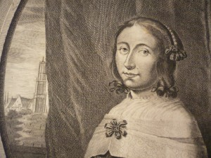 Gravure with Anna Maria van Schurman; on the background the Dom tower